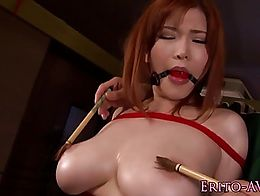 Bigtitted asian bound and fucked before cumshot over boobs