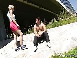 Skinny, old Daisy looks around dirty places for virgin young boys to fuck her nasty pussy. Watc...