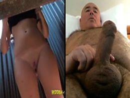 Big boobs beach cabin woman man wanking