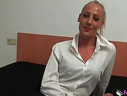 She is 40 and works as a secretary in Spain. She wets her pussy when young cock fucks her in th...