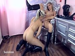 Domina Slave Lesbian Cam babes pussy licking dildo fucking
