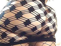 Big booty princess twerks in see thru dress and fishnets