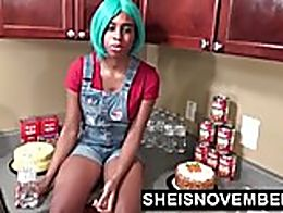 Cute Ebony Step Sister Seduced & Fucked In Kitchen Rough Sex For Msnovember