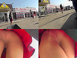 Chick was wearing beautiful red skirt  and a tiny thong when a candid voyeur bloke filmed her n...