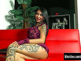 Naughty asian honey with tattoos fucking a large dildo and getting slit fingered by a german gu...