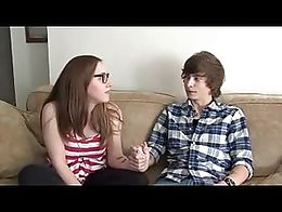 A teen boy and girl return home from their date and the boy wants his girlfriend to jerk him of...