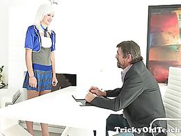 As Misa listened to her tricky old teacher, his deep manly voice turned her on and made her wet...