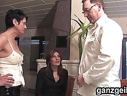 Amazing bisexual german milfs licking their slick beavers and fucking a hard cock in threesome....