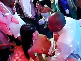 Hot bodied brides dancing and sucking big cocks at a fuck party in public. Watch beautiful babe...