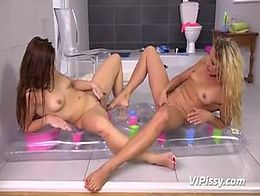 BLONDE BRITTANY BARDOT AND SUPER HOT LOREEN HAVE LESBIAN PEE PLAY FUN WITH A BEACH PARTY AT HOM...