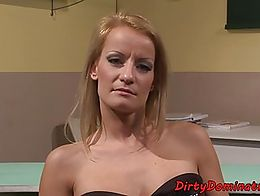 Gorgeous eurobabe dominated by dyke beauty in the classroom