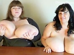 Two BBWs with Monster Boobs Talking Dirty Jiggling their Big Tits