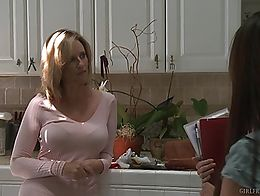 Busty blonde housewife seducing not her daughter's older girlfriend from the neighborhood....