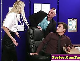 Threeway office babe gets face coverd in double cumload after blowjob