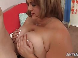 Sexy BBW Erin Green tit-fucks a guy and then sucks his stiff shaft. After that, she gets her fl...