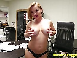Busty stepmom wanking cock in office after striptease