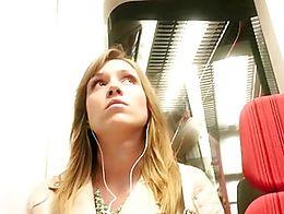 Girl watching and enjoying her view. Filming.