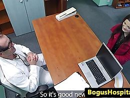 Doctor eats and rides patients pussy on desk in his office