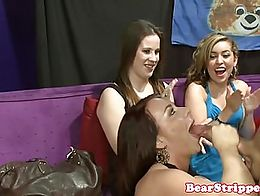 OMG babes share strippers cock and take cum in mouth at bday party