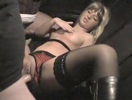 Blonde slut with a juicy cunt takes on two horny guys
