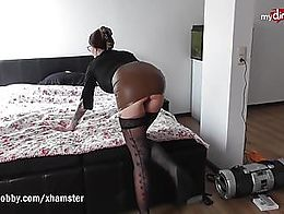 Hot busty MILF Anna sucks a fat cock and then gets fucked hard on the bed. She later takes the ...