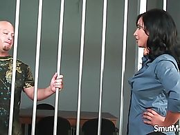 Sexy jail warden sucks the erected dick of a prisoner And then she makes him fuck her pussy so ...