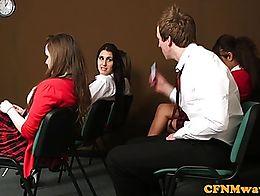 Femdom cfnm teacher humiliate dude in class making bust load