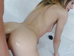 Blonde on Bed Anal Blowjob