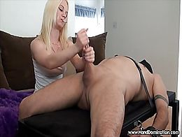 tiny blonde takes her frustration out on a large defenseless white cock