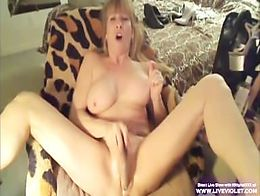 Busty blonde milf Kat fucks her sweet holes