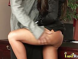 After having her shaved pussy hole licked, this dude will plunge his massive tool inside.