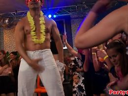 Dancing european amateurs at party tugging