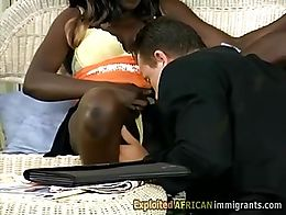 Big white thug tongues busty ebony immigrants wet cunt. That black babe enjoys every move of th...