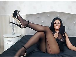 Gorgeous MILF Celia showing off her sexy legs in pantyhose and high heels…it gets even before...