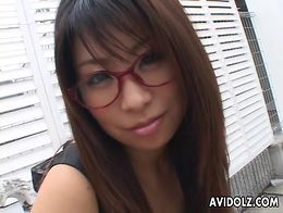 Pretty dress glasses on a cocksucking Asian babe
