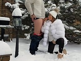 Outdoor winter blowjob cum on her pretty face mouth