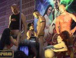 Italian pornstars public orgy in Barcelona
