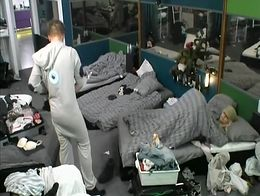 This is a big brother video from some show where the horny participants fucked under a blanket,...