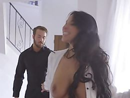 Sexy girlfriend Alexa wakes up to her mans love note so she slides into lingerie and seduces hi...