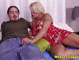 Cockhungry milf jerking off taboo hard cock while rubbing her clit