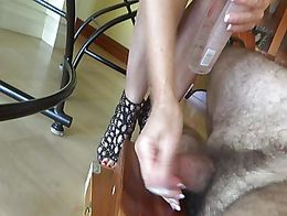 I got my dick trampled by the wife. she wore sexy shoes and a great pedi.