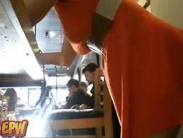 Public red head on  webcam cafe masturbation  -