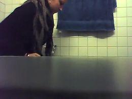 blonde peeing in bathroom hidden cam