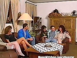 Group anal sex with three big tit milfs in their sexy laced bra and stockings. Sucking and fuck...