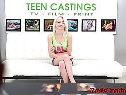Tiny cutie hardfucked on casting couch while bound