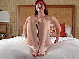 Shy female delights in her first  time on camera