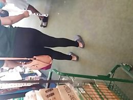 Ebony teen with a fat ass booty in some see through leggings at the store (orginal content)