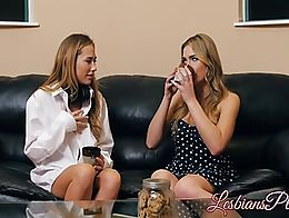 Hot Blair Williams and Carter Cruise enjoying lesbian time with pussy fingering and licking eac...