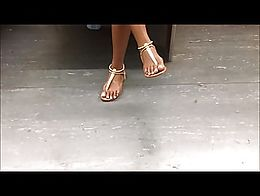 Sat across this lovely Ebony teen with gorgeous white toes in sandals.