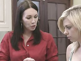 Busty brunette housewives RayVeness and Mindi Mink enjoys to fingerfuck and lick each other&#03...